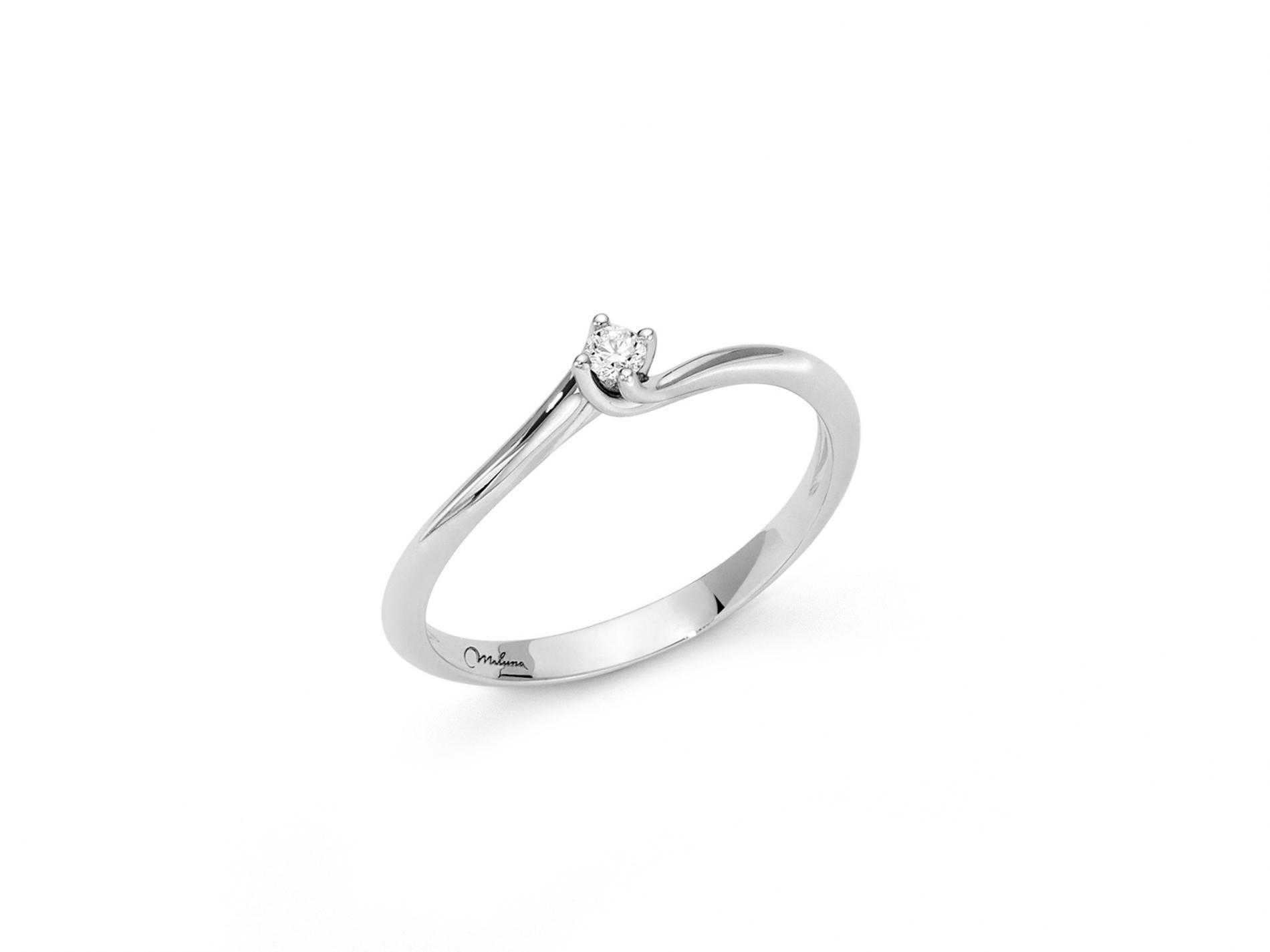 Anello miluna oro bianco solitario LID3264