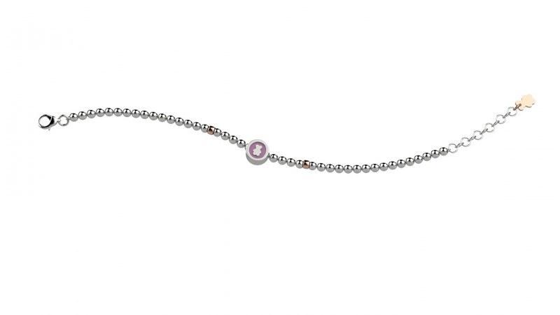 Bracciale argento 925 con pallini orsetto rosa