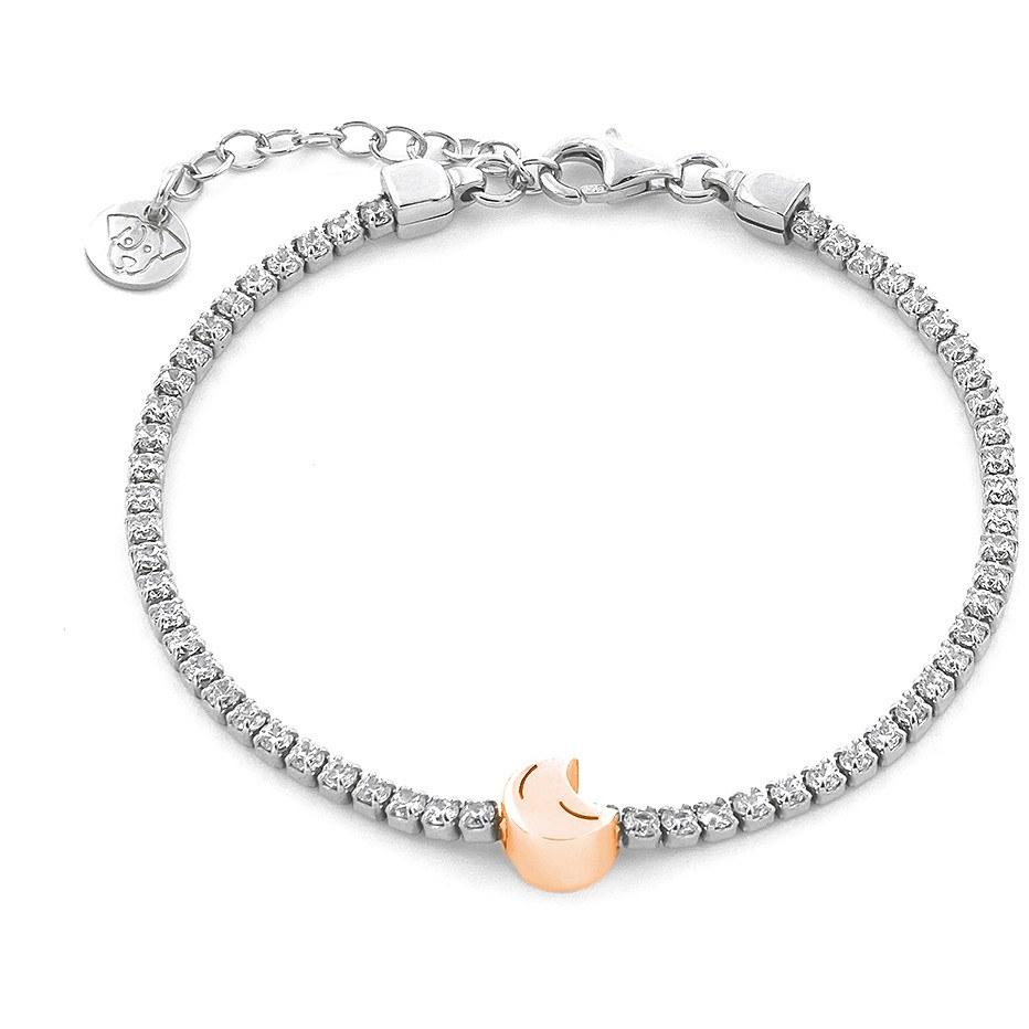 Bracciale tennis con zirconi in argento con luna da donna di jackco jcb1484