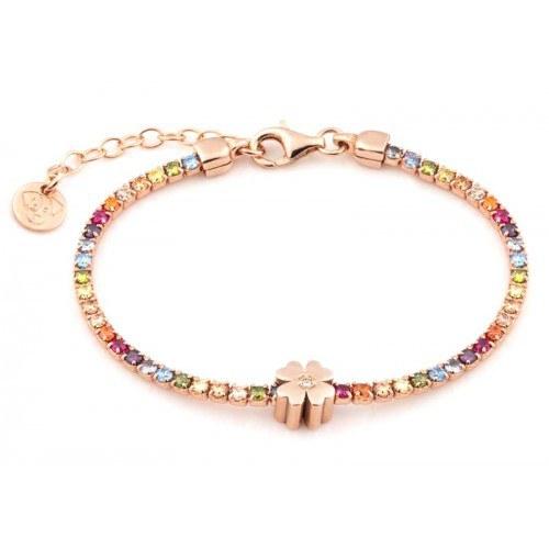 Bracciale tennis quadrifoglio in argento 925 placcato oro rosa con zirconi rainbow